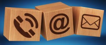 Rendição de madeira do ícone 3D do contato do cubo de Digitas Foto de Stock
