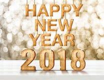 Rendição de madeira do número 3d do ano novo feliz 2018 em p de madeira branco Foto de Stock Royalty Free
