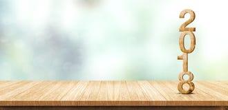 Rendição de madeira do número 3d do ano novo 2018 na tabela de madeira a da prancha Fotografia de Stock Royalty Free