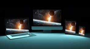 Rendição de prata digital moderna do dispositivo 3D da tecnologia Imagens de Stock Royalty Free