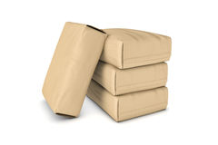 Rendição de quatro sacos bege leves do cimento isolados em um fundo branco ilustração stock