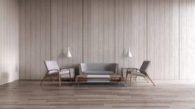 Rendição de suspensão do verão 3d da opinião do mar do grupo do sofá da lâmpada do assoalho de madeira interior moderno da sala d ilustração do vetor