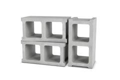 Rendição de três blocos de cinza isolados no fundo branco Foto de Stock