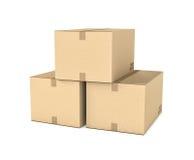 A rendição de três isolou as caixas de cartão bege leves do correio unidas Imagem de Stock Royalty Free