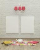 Rendição de trabalho do design de interiores 3d da sala das crianças Fotografia de Stock Royalty Free