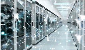 Rendição de troca center dos dados 3D do cyber da sala do servidor Fotos de Stock