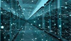 Rendição de troca center dos dados 3D do cyber da sala do servidor Foto de Stock