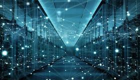 Rendição de troca center dos dados 3D do cyber da sala do servidor Fotografia de Stock