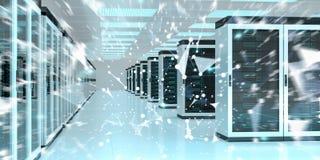 Rendição de troca center dos dados 3D do cyber da sala do servidor Imagem de Stock