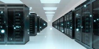 Rendição de troca center dos dados 3D do cyber da sala do servidor Foto de Stock Royalty Free