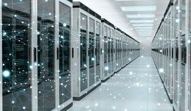 Rendição de troca center dos dados 3D do cyber da sala do servidor Imagens de Stock