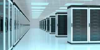 Rendição de troca center dos dados 3D do cyber da sala do servidor Fotos de Stock Royalty Free