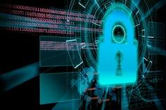 Rendição de um alvo futurista do fundo do cyber com lig do laser Imagens de Stock Royalty Free