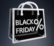 Rendição digital dos ícones 3D das vendas de Black Friday Fotografia de Stock