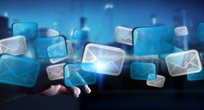 Rendição digital tocante dos ícones 3D do email do homem de negócios Foto de Stock Royalty Free