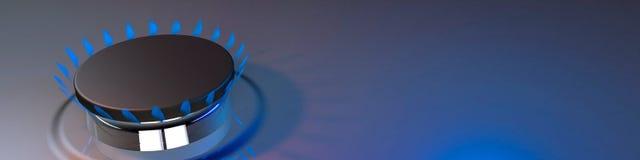 Rendição do butano 3d do fogo do cozinheiro da cozinha da chama azul do gás Fotos de Stock