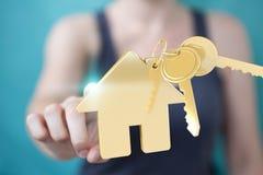 Rendição do conceito 3D da casa do eco da mulher de negócios Foto de Stock Royalty Free