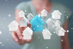 Rendição do conceito 3D da casa do eco da mulher de negócios Imagens de Stock Royalty Free