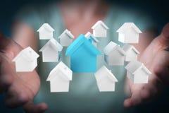 Rendição do conceito 3D da casa do eco da mulher de negócios Imagem de Stock Royalty Free