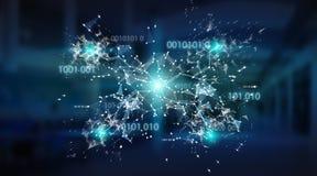 Rendição do fundo 3D da rede da conexão do código binário de Digitas Foto de Stock Royalty Free