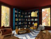 Rendição do interior brilhante da sala acolhedor em cores escuras ilustração do vetor