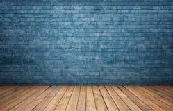 Rendição do interior com a parede de tijolo azul e o assoalho de madeira Fotografia de Stock