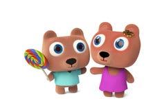 Rendição do urso da mamãe e do urso 3D do bebê Imagens de Stock