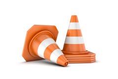 Rendição dos cones do tráfego isolados no fundo branco Imagem de Stock