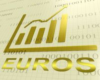 Rendição dos estrangeiros 3d de Euros Graph Increasing Shows European ilustração stock