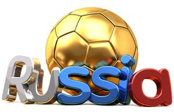 Rendição dourada do futebol 3d do futebol de Rússia Fotografia de Stock Royalty Free