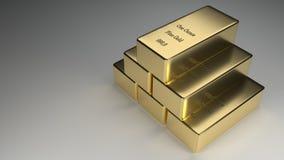 Rendição empilhada dos lingotes do ouro Fotografia de Stock Royalty Free