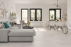 Rendição escandinava do design de interiores 3D do estilo imagens de stock royalty free