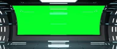 Rendição escura do interior 3D da nave espacial Imagens de Stock