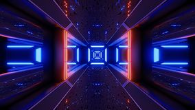 Rendição estrangeira do papel de parede 3d do túnel do scifi de Futuristice ilustração do vetor
