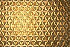 Rendição geométrica dourada abstrata do fundo 3d do triângulo Foto de Stock