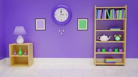 Rendição Home do interior 3D Foto de Stock Royalty Free