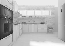 Rendição interior da grade 3D da cozinha Fotografia de Stock