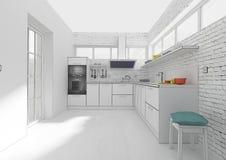 Rendição interior da grade 3D da cozinha Fotos de Stock