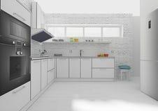 Rendição interior da grade 3D da cozinha Foto de Stock