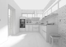 Rendição interior da grade 3D da cozinha Imagem de Stock Royalty Free