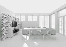 Rendição interior da grade 3D da sala de jantar Foto de Stock