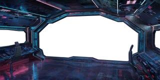 Rendição interior do fundo 3D da nave espacial do Grunge Imagem de Stock