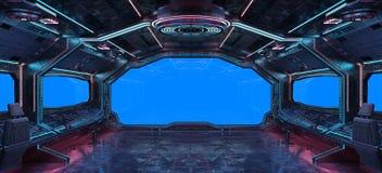 Rendição interior do fundo 3D da nave espacial do Grunge Foto de Stock