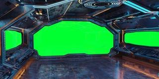 Rendição interior do fundo 3D da nave espacial do Grunge Fotos de Stock Royalty Free