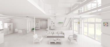 Rendição interior do panorama 3d do sótão branco Fotos de Stock Royalty Free