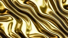 Rendição lisa das ondas 3d do ouro Fotografia de Stock Royalty Free