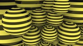 Rendição listrada preta e amarela das bolas 3D Imagem de Stock Royalty Free