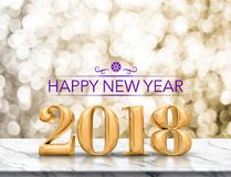 Rendição 2018 lustrosa do ouro roxo do ano novo feliz da cor 3d sobre Imagens de Stock