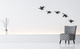 Rendição minimalista interior da imagem 3d do estilo da sala de visitas branca moderna Fotografia de Stock
