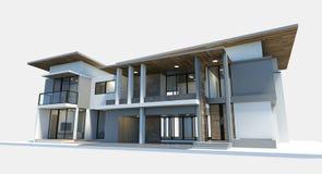 Rendição moderna da casa 3d no fundo branco ilustração do vetor